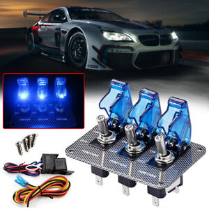 Racing Car Ignition 3 Way Toggle Switch Panel Blue Led 12v Engine Relays On Off