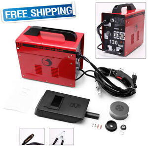 130 Mig Welder Flux Core Wire Automatic Feed Welding Machine 110v Free Mask Red