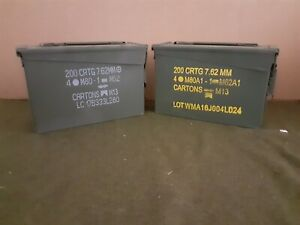 AMMO CAN 2 PACK ONCE USED MILITARY 7.62 30 Cal M19A1 ** FREE SHIPPING** $29.95