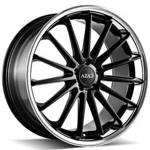 4 20 Staggered Azad Wheels Az24 Semi Matte Black Face With Chrome Ss Lip b31