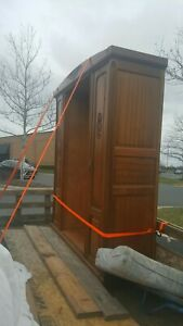 Antique Large Mirrored Mahogany Armoire Wardrobe That Comes Apart For Transport
