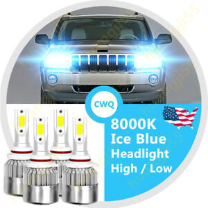 Ice Blue 9005 9006 Led Headlight Bulb Combo C6 For Jeep Grand Cherokee 2001 2010