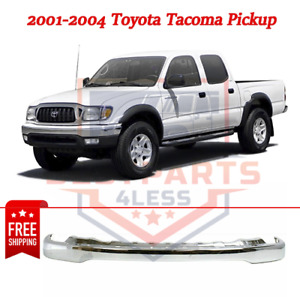 New Chrome Front Bumper To1002174 For 2001 2004 Toyota Tacoma Pickup