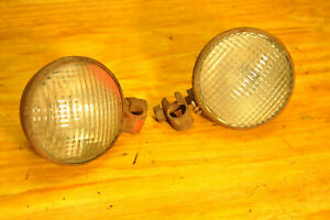Farmall M 2 Two Oem Front 6v Headlights Head Light With Mounting Clamps