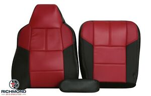 2007 Ford F250 Lariat Outlaw driver Side Complete Leather Seat Covers Black Red
