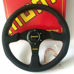 350mm Red Stitching Leather Flat Steering Wheel For Nrg Hub Momo Boss Kit Racing