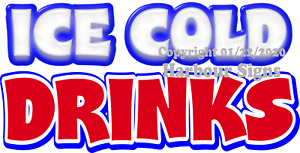 choose Your Size Ice Cold Drinks Decal Concession Food Truck Vinyl Sticker