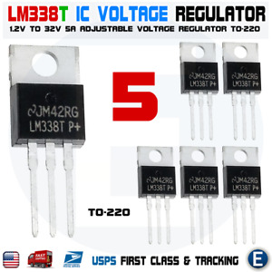 5pcs Lm338t Lm338 Adjustable Regulator 5a 1 2v To 32v To 220 Lm317 Replacement
