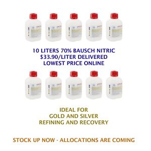 Bausch Nitric hno3 Acid 69 8 10l Cp Laboratory Grade Gold And Silver Refining