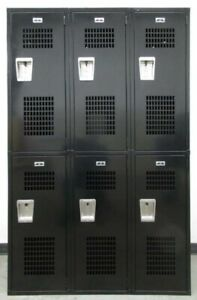 Extra Large 2 tier Metal Black Lockers 45 w X 21 d X 60 th 6 Lockers A Set