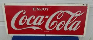Vintage Embossed Enjoy Coca Cola Metal Advertising Sign 24 x 10 inches AM2 9