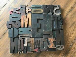 Letterpress Print Type Wood Letters And Numbers 35 Pieces Lot Of 35