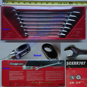 New Snap On 12 Pts Sae Flank Drive Combination Ratchet Wrench 7 Pcs Set Soxrr707
