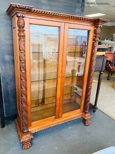 Antique Circa 1840s Book Case Bookshelf With Carved Posts And Paw Feet Awesome