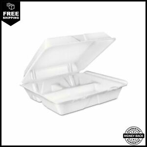 Dart Large 3 compartment White Foam Carryout Food Container High insulation