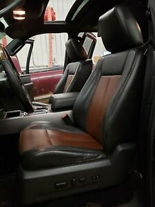2009 Ford Expedition Ltd Brown Black Leather Set Of Front 2nd 3rd Row Seats