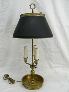 Vintage Brass Bouillotte 3 Arm Candle Stick Adjustable Tole Shade Table Lamp
