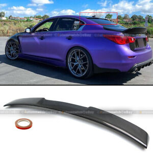 For 14 20 Q50 Glossy Carbon Fiber Jdm Vip Style Rear Window Roof Spoiler Wing