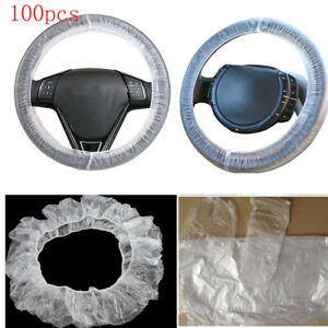 Hot 100pcs Universal Clear White Plastic Disposable Steering Wheel Cover For Car