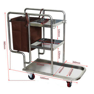 Stainless Steel Household Janitor Hotel Utility Cleaning Cart 3 Shelf Trolley