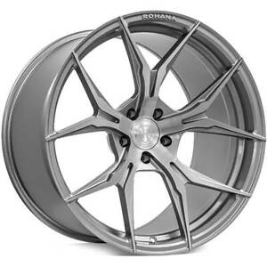 4 19x9 5 19x11 Staggered Rohana Wheels Rfx5 Brushed Titanium Rims b32