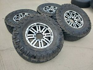 17x8 5 Chevy Dodge Ram 2500 3500 Black Wheels Rims 35 Tires 18 8x165 8x6 5