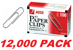 Acco 3 Paper Clips Business School Office Paperclip Made In Usa 12 000 Pack