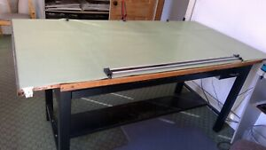 Large Vintage Hamilton Wood Top Drafting Table 84 X 45 And 48 Parallel Rule