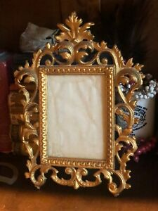 Vintage Metal Ornate Gold Antique Frame Picture Scrolls Rare Hollywood Regency