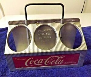 1950'S COCA COLA ANTIQUE CARRIER ALUMINUM CARRYING CASE 6 PACK HOLDER