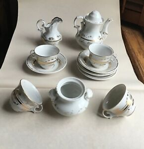 English Staffordshire Child S Tea Set Fgc 11 Pcs Gilt Luster Flower Sprig