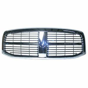 Front Grille For 2006 2009 Dodge Ram 2500 Chrome Black Ch1200282