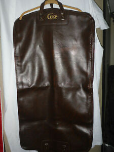 Vintage Rare ENJOY COKE Coca Cola Brown Leather Garment Bag Employee Luggage