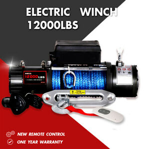 X Bull Electric Winch 12000lbs 12v Synthetic Rope Towing Truck Off Road Jeep 4wd