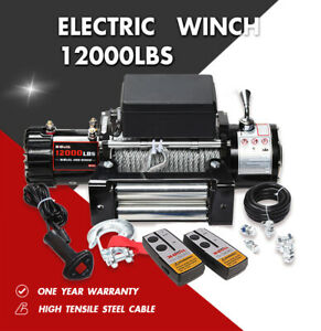 X bull Electric Winch 12000lbs 12v Steel Cable Off road 4wd Towing Truck Trailer