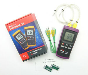2 Input Digital K type Thermometer For Pottery Kiln Furnace Forge Dt1312 Pk1000
