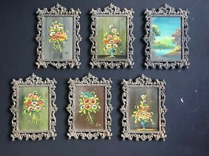 6 Vintage Italy Gold Depose Italy Antique Metal Picture Frames Italian Art