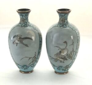 Pair Of Antique Japanese Meiji Period Powder Blue Grey Cloisonne 6 Vases