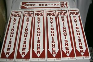 Lot Of 7 Vintage 18 Fire Extinguisher Arrow Metal Sign Hillman Rounded Corner
