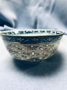 Antique Chinese Rice Bowl Blue And Red Pattern