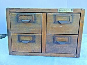 Oak 4 Drawer Library Card File Vintage Solid Condition