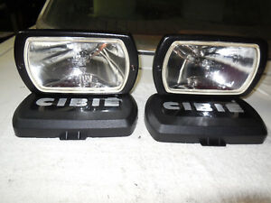 Cibie Type 95i Clear Driving Lamps Pair W Bulbs Black Covers Genuine Rare