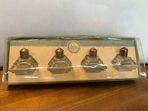 Art Deco Salt Pepper Shaker Czech Cut Glass Sterling 925 Silver Irice New