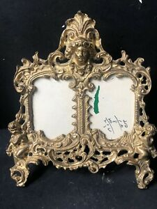 Vintage Gold Brass Cherub Antique Picture Double Frame Hollywood Regency Metal