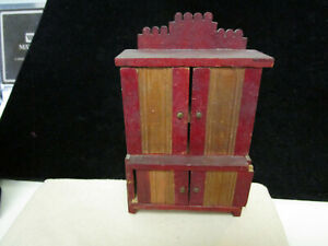 Antique Dollhouse Salesman Sample Early Country Kitchen Stepback Cupboard
