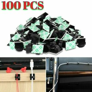 Wire Clip Black Car Tie Rectangle Cable Holder Mount Clamp Self Adhesive 100 Pcs