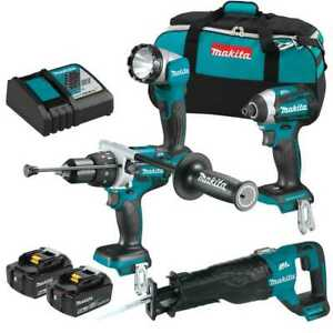 Makita Xt450t 18v Lxt Lithium ion Brushless Cordless 4 pc Combo Kit 5 0ah New