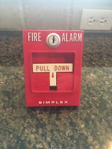 vintage rare Simplex Fire Alarm Pull Station Model 4251 20 Red Single Action