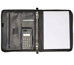 Buxton Black Genuine Leather Cal q Zip around Portfolio Calculator 3 Ring Binder