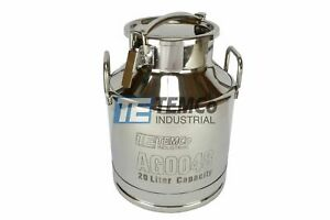 Temco 20 Liter 5 25 Gallon Stainless Steel Milk Can Wine Pail Bucket Tote Jug